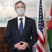 Secretary of State Antony Blinken speaks to the media prior to a meeting with Jordanian Foreign Minister Ayman Safadi at the State Department in Washington, Monday, May 10, 2021. (Saul Loeb/Pool via AP)