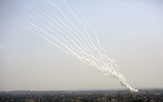 Rockets are launched from Gaza Strip toward Israel, May 11, 2021. (AP Photo/Hatem Moussa)