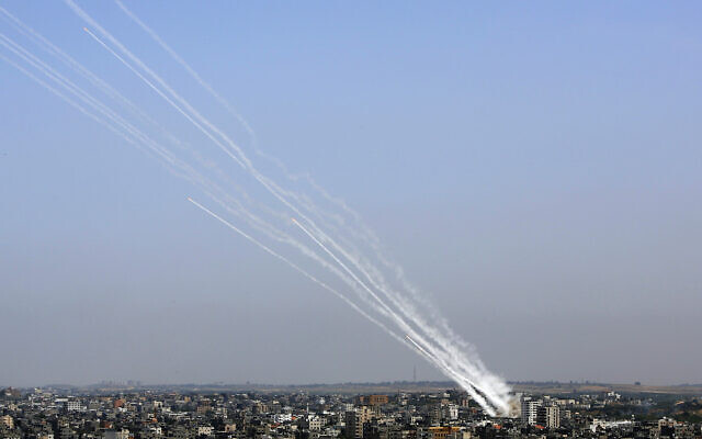 Rockets are launched from Gaza Strip towards Israel, May 11, 2021. (AP Photo/Hatem Moussa)