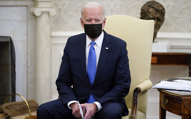 US President Joe Biden speaks during a meeting with Republican senators in the Oval Office of the White House on May 13, 2021, in Washington. (AP Photo/Evan Vucci)