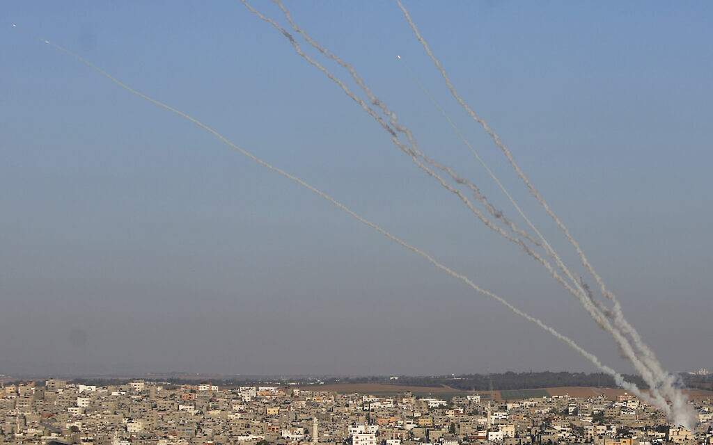 Rockets are launched from Gaza Strip to Israel , Friday, May 14, 2021. (AP Photo/Hatem Moussa)
