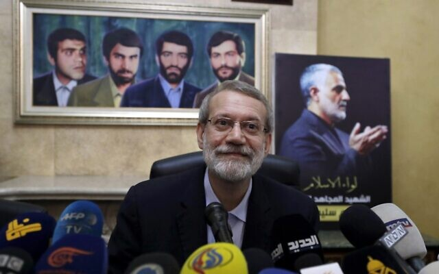 In this Feb. 17, 2020, file photo, former Iranian parliament speaker Ali Larijani speaks to journalists at the Iranian Embassy in Beirut, Lebanon (AP Photo/Hassan Ammar, File)