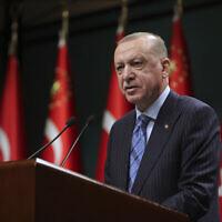 Turkey's President Recep Tayyip Erdogan talks following his cabinet meeting in Ankara, Monday, May 17, 2021. (Mustafa Kamaci/Turkish Presidency via AP)