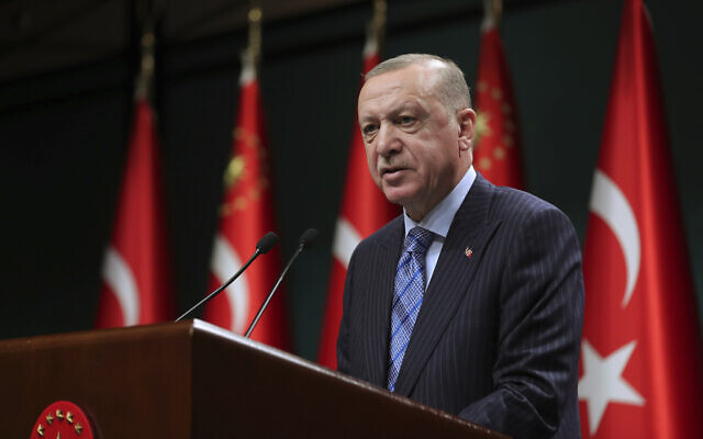Turkey's President Recep Tayyip Erdogan talks following his cabinet meeting in Ankara, May 17, 2021. (Mustafa Kamaci/Turkish Presidency via AP)