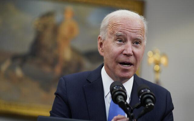 US President Joe Biden speaks in the Roosevelt Room of the White House in Washington, May 13, 2021. (Evan Vucci/AP)