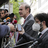 Deputy Secretary General and Political Director of the European External Action Service (EEAS), Enrique Mora, addresses the media as he leaves the 'Grand Hotel Wien' where closed-door nuclear talks with Iran took place in Vienna, Austria, May 19, 2021. (AP Photo/Lisa Leutner)
