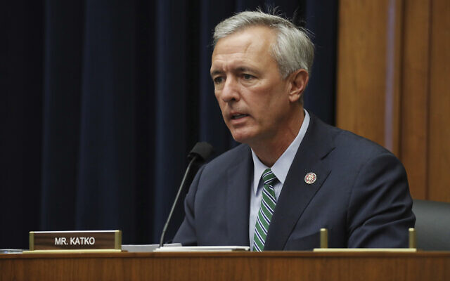 US Rep. John Katko questions witnesses during a House Committee on Homeland Security hearing on Capitol Hill Washington, September 20, 2020.  (Chip Somodevilla/Pool via AP)