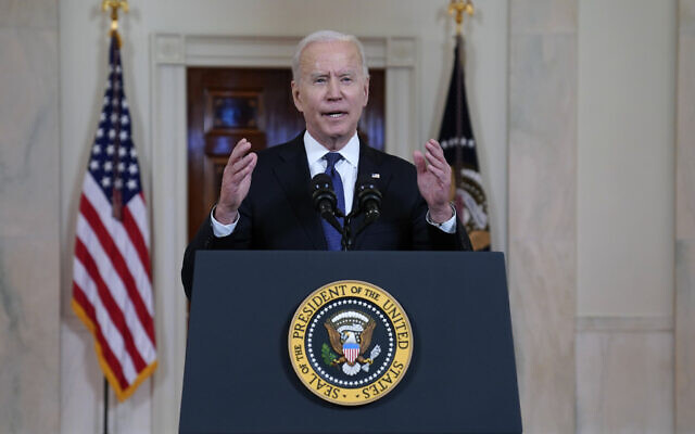 US President Joe Biden speaks about a ceasefire between Israel and Hamas, in the Cross Hall of the White House, May 20, 2021, in Washington. (AP Photo/Evan Vucci)