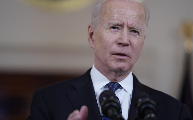 President Joe Biden speaks about a cease-fire between Israel and Hamas, in the Cross Hall of the White House, May 20, 2021, in Washington. (AP Photo/Evan Vucci)