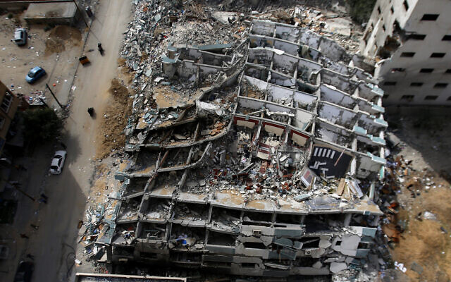 The destroyed building housing the offices of The Associated Press and other media, after it was hit last week by an Israeli airstrike, in Gaza City, May 21, 2021. (AP Photo/Hatem Moussa)