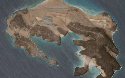 A mysterious air base is seen being built on Yemen's volcanic Mayun Island in this April 11, 2021, satellite photograph from Planet Labs Inc. (Planet Labs Inc. via AP)