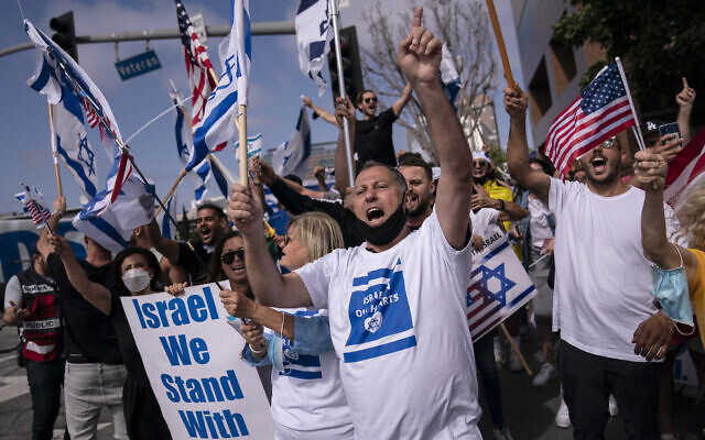 Illustrative: Pro-Israel supporters chant slogans during a rally in support of Israel outside the Federal Building in Los Angeles, May 12, 2021. (AP Photo/Jae C. Hong, file)