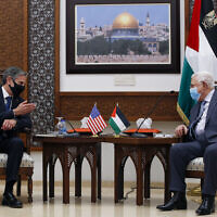 Palestinian Authority President Mahmoud Abbas, right, meets with US Secretary of State Antony Blinken, in the West Bank city of Ramallah, May 25, 2021. (Majdi Mohammed/AP)