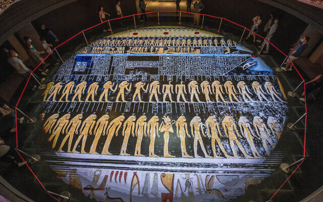 In this April 24, 2021 file photo, people visit the new National Museum of Egyptian Civilization in Old Cairo, April 24, 2021 (AP Photo/Nariman El-Mofty, File)