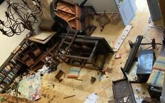 Damage caused by a violent mob at the Arabesque arts and residency center in Acre, May 12 (courtesy)