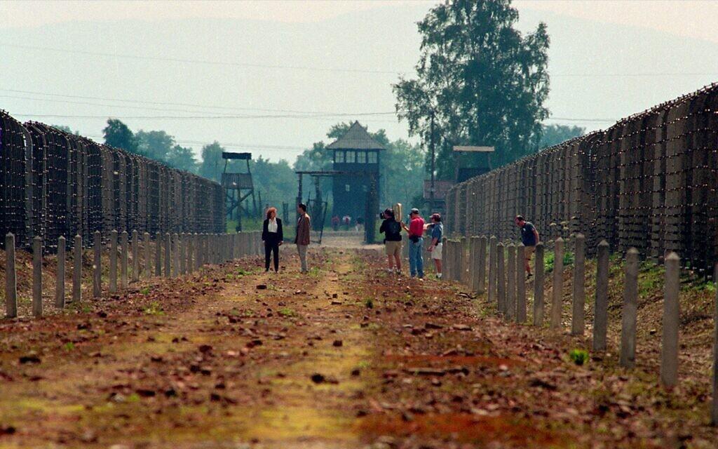 Filming the 1998 Holocaust documentary 'The Last Days' in Auschwitz-Birkenau. (Courtesy)