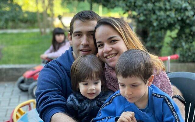 The Biran family, with Eitan on the right. (Courtesy)