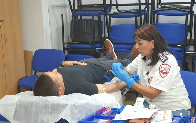 Israelis donate blood following the deadly Mt Meron crush, on April 30, 2021. (Magen David Adom)