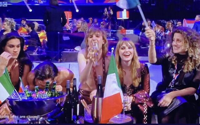 Italy's Maneskin during the live recording of Eurovision 2021. (Screenshot)