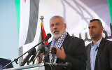 File: Hamas political chief Ismail Haniyeh at a groundbreaking ceremony for the Rafah Medical Complex in Rafah, southern Gaza Strip on November 23, 2019. (Abed Rahim Khatib/Flash90)