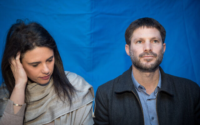 Ayelet Shaked and Bezalel Smotrich visit at a protest tent of settler leaders, outside the Prime Ministers Office in Jerusalem, February 6, 2020. (Yonatan Sindel/Flash90)