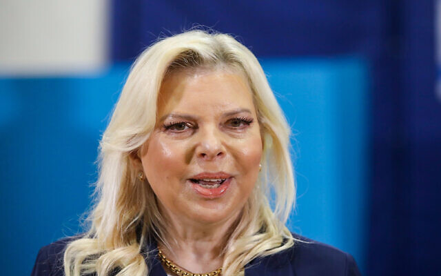 Sara Netanyahu at a voting station in Jerusalem, during national elections, on March 23, 2021. (Marc Israel Sellem/POOL)