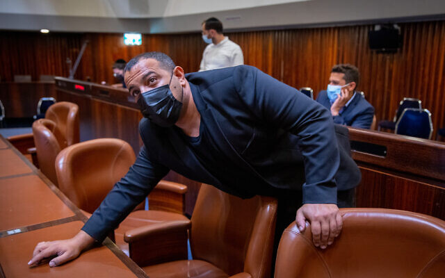Yamina's Abir Kara at the Knesset on April 5, 2021. (Olivier Fitousi/Flash90)
