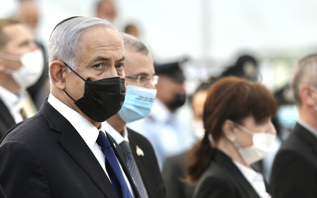 Prime Minister Benjamin Netanyahu at a ceremony marking Memorial Day for Israel's fallen soldiers and victims of terror, at Yad Labanim in Jerusalem on April 13, 2021. (Marc Israel Sellem/Pool/Flash90)