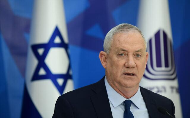 Defense Minister Benny Gantz, during a press conference in Tel Aviv, April 22, 2021. (Tomer Neuberg/Flash90)