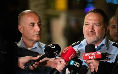Police Commissioner Kobi Shabtai, right, meets with press near Damascus Gate in Jerusalem on April 24, 2021. (Yonatan Sindel/Flash90)