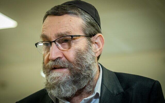 United Torah Judaism party leader Moshe Gafni after a faction meeting at the Knesset on April 26, 2021. (Yonatan Sindel/Flash90)