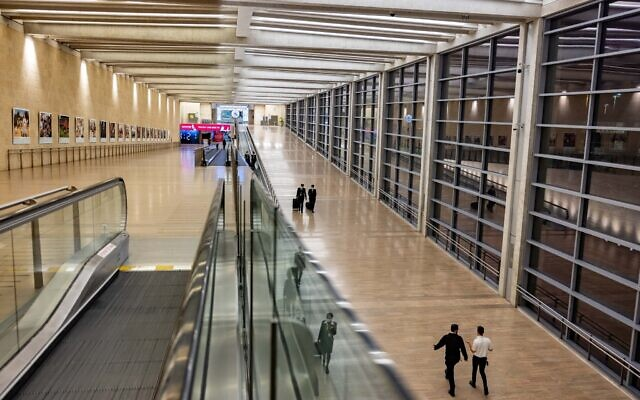 The departure hall of Ben Gurion International Airport during one of its quiet moments when travel was largely banned due to. the pandemic, April 19, 2021. (Nati Shohat/FLASH90)
