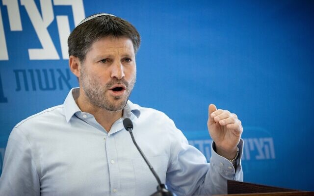 Religious Zionism leader Bezalel Smotrich leads a faction meeting at the Knesset on May 3, 2021. (Yonatan Sindel/Flash90)