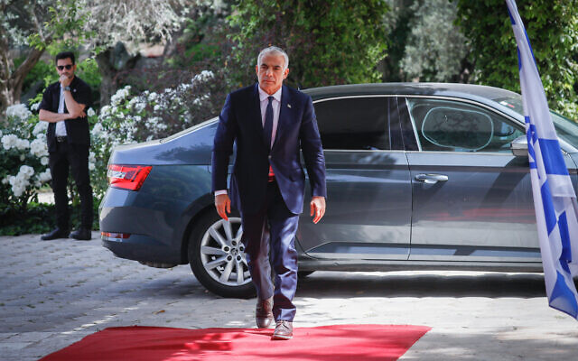 Yesh Atid leader Yair Lapid, arrives to the President's Residence in Jerusalem on May 5, 2021. (Olivier Fitoussi/Flash90)
