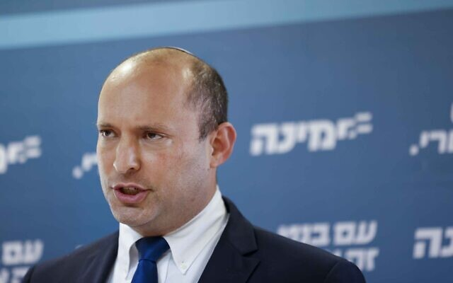 Yamina chief Naftali Bennett speaks during a press conference at the Knesset on May 5, 2021. (Yonatan Sindel/Flash90)