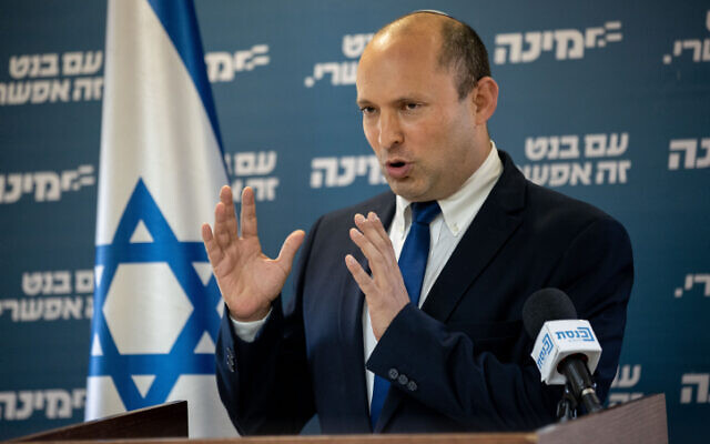 Yamina party head Naftali Bennett gives a press conference at the Knesset on May 5, 2021 (Yonatan Sindel/Flash90)