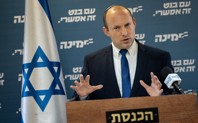 Yamina party leader Naftali Bennett gives a press conference at the Knesset, on May 5, 2021. (File: Yonatan Sindel/Flash90)