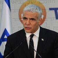 Yesh Atid party Yair Lapid holds a press conference in Tel Aviv, on May 6, 2021. (Avshalom Sassoni/FLASH90)