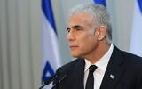 Yesh Atid party chair Yair Lapid holds a press conference in Tel Aviv, May 6, 2021. (Avshalom Sassoni/FLASH90)