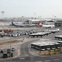 Planes at Ben Gurion International Airport, on May 7, 2021. (Yossi Aloni/Flash90)