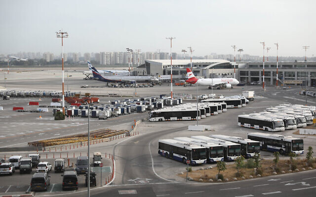 Planes at Ben Gurion International Airport, on May 7, 2021. (Yossi Aloni/Flash90)