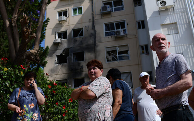 An apartment building hit by a rocket fired from the Gaza Strip in Ashkelon, southern Israel, on May 11, 2021. (Tomer Neuberg/Flash90)