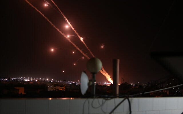 Rockets are launched towards Israel from Rafah, in the southern Gaza Strip, early on May 12, 2021. (Abed Rahim Khatib/Flash90)