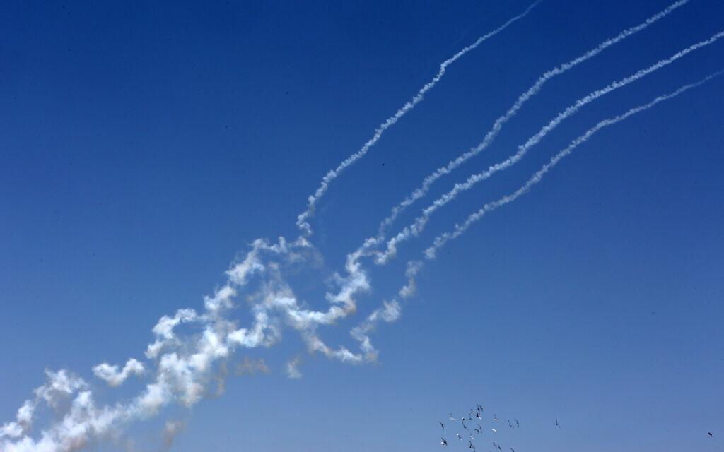 Rockets fired toward Israel from the southern Gaza Strip on May 12, 2021 (Abed Rahim Khatib/Flash90)