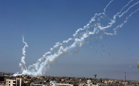 Rockets are launched towards Israel from the southern Gaza Strip, on May 12, 2021 (Abed Rahim Khatib/Flash90)