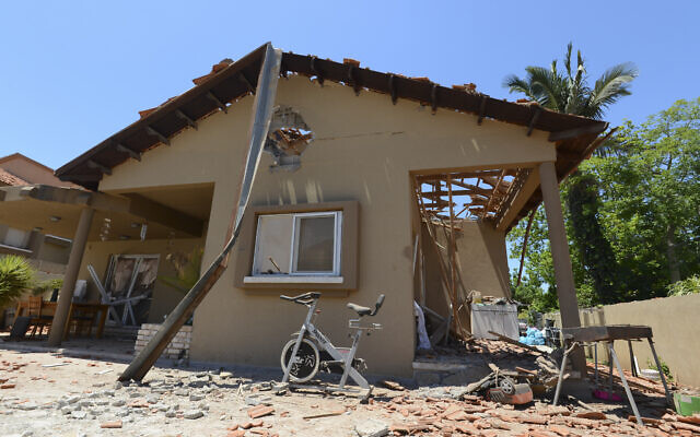 Damage to a house in the Israeli city of Sderot which was hit by rockets fired from Gaza. May 15, 2021 (Avi Roccah/Flash90)