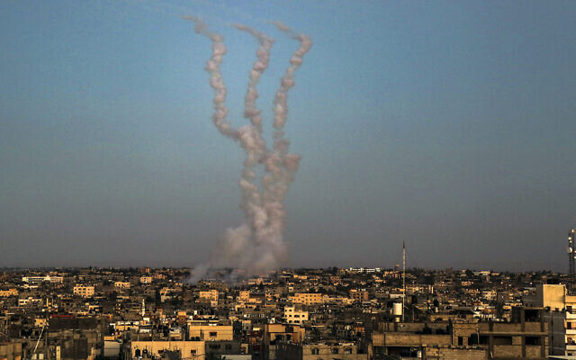 Rockets are launched towards Israel from Rafah in the southern Gaza Strip on May 14, 2021. (Abed Rahim Khatib/Flash90)
