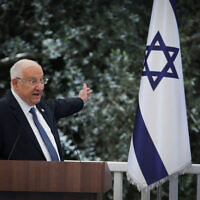 President Reuven Rivlin at an event for outstanding soldiers as part of Israel's 73rd Independence Day celebrations, at the President's Residence in Jerusalem on April 15, 2021. (Flash90)