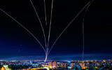 A long exposure picture shows iron dome anti-missile system fires interception missile as rockets fired from the Gaza Strip to Israel, as it seen from the southern Israeli city of Ashdod, May 16, 2021. (Avi Roccah/Flash90)