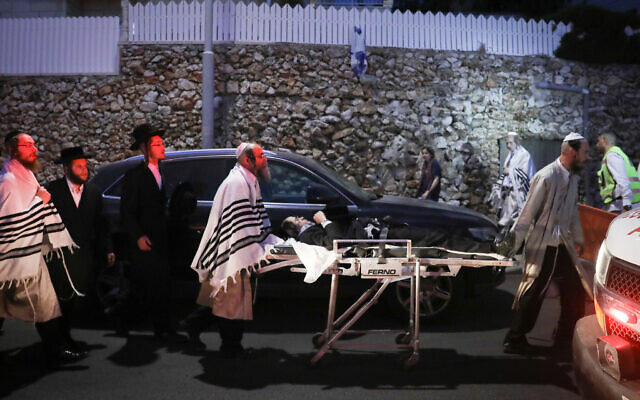 Some 60 Ultra-Orthodox Jews were injured when a synagogue bleacher collapsed in the Givat Zeev settlement north of Jerusalem on the eve of the Jewish holiday of Shavuot, May 16, 2021. (Noam Revkin Fenton/FLASH90)